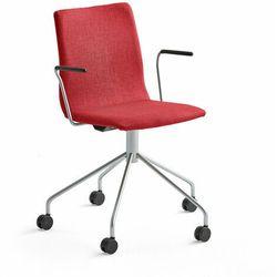 Krzesło konferencyjne OTTAWA, na kółkach, podłokietniki, czerwona tkanina, szary