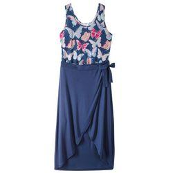 Letnia sukienka z długą spódnicą bonprix kobaltowy z nadrukiem