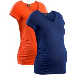 Shirt ciążowy (2 szt.), krótki rękaw bonprix mandarynkowy + kobaltowy