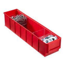 Plastikowy pojemnik do regału Shelfpoj., 91 x 400 x 81 mm, czerwony