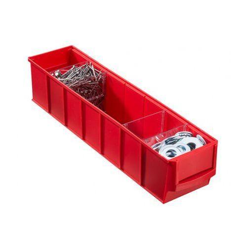 Pojemniki przemysłowe, Plastikowy pojemnik do regału Shelfpoj., 91 x 400 x 81 mm, czerwony