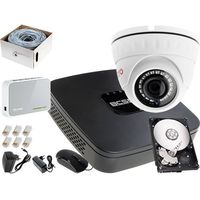 Zestawy monitoringowe, Rejestrator IP BCS BCS-NVR04015ME + 1x Kamera FullHD LV-IP2M2IPDFWH, 1TB, Akcesoria