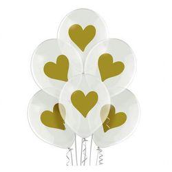 """Balony przezroczyste z nadrukiem złote Serduszka - 12"""" - 6 szt."""