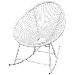 Ogrodowy fotel bujany z polirattanu, biały