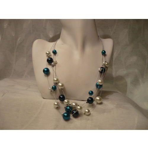 Naszyjniki i korale, N-00040 Naszyjnik z perełek szklanych, turkusowych, białych i granatowych