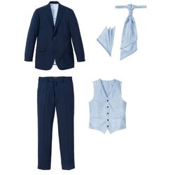 Garnitur 5-częściowy (marynarka, spodnie, kamizelka, krawat i chusteczka do butonierki) bonprix ciemnoniebieski