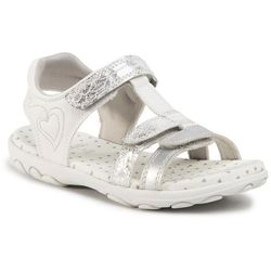 Sandały GEOX - J Sandal Cuore B J0290B 00454 C0434 S Silver/White