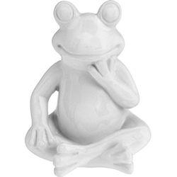 Ozdoba ogrodowa Biała Żaba - wys. 14 cm