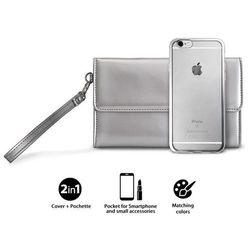 PURO Metal Duo - Zestaw torebka + etui Satin iPhone 6s / iPhone 6 (Silver) Limited edition