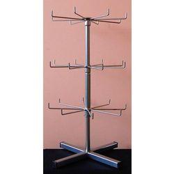 Obrotowy, trzy poziomowy, metalowy stojak do prezentacji np. breloków - srebrny