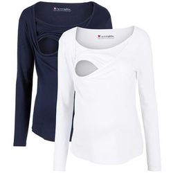 Shirt ciążowy i do karmienia, długi rękaw (2 szt.) bonprix biały + ciemnoniebieski