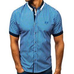 Koszula męska elegancka w kratę z krótkim rękawem niebieska Bolf 4501