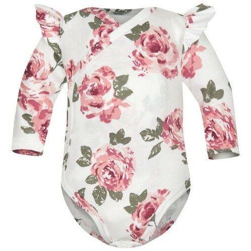 Body niemowlęce, Body kopertowe z długim rękawem Białe Róże - Dolce Sonno