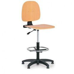 Drewniane krzesło robocze - podpórka na nogi, ślizgacze