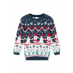 Sweter chłopięcy bożonarodzeniowy bonprix ciemnoniebieski