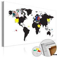 Tablice szkolne, SELSEY Tablica korkowa Mapa świata: Czarno-biała elegancja