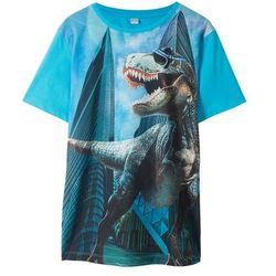 T-shirt z nadrukiem dinozaura bonprix turkusowy -czarny z nadrukiem
