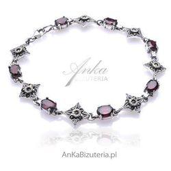 Biżuteria Bransoletka srebrna granaty oraz markazyty sensualna kobiecość