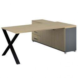 Biurowy stół roboczy ALFA X z szafką po lewej, blat 1800 x 800 mm, wzór brzoza