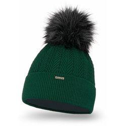 Zimowa czapka damska PaMaMi - Butelkowa zieleń