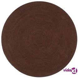 vidaXL Ręcznie wykonany dywanik z juty, okrągły, 90 cm, brązowy Darmowa wysyłka i zwroty