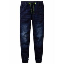 """Dżinsy dresowe chłopięce z elastycznym paskiem, Slim Fit bonprix ciemnoniebieski """"stone"""""""