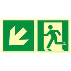 znak kierunek do wyjścia ewakuacyjnego w dół w lewo