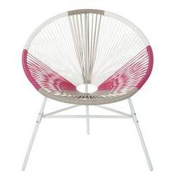 Beliani Krzesło rattanowe biało-beżowo-różowe ACAPULCO