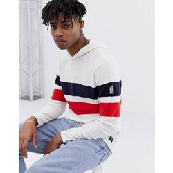 Jack & Jones Originals knitted hoodie with body stripe - White