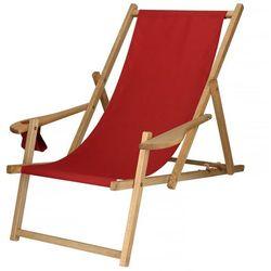 Leżak drewniany impregnowany z podłokietnikami i miejscem na napój czerwony