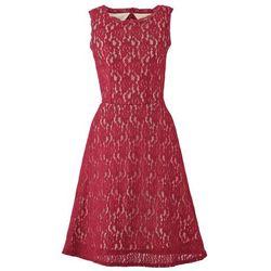 Krótka sukienka koronkowa bonprix ciemnoczerwono-jasnobrązowy