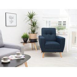 Fotel wypoczynkowy ciemnoniebieski do salonu tapicerowany - HERNING