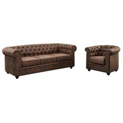 3-osobowa sofa i fotel CHESTERFIELD z mikrofibry o wyglądzie postarzanej skóry