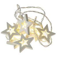 Ozdoby świąteczne, EMOS Girlanda LED - drewniane gwiazdki, 2 × AA, ciepła biel, timer