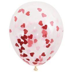 Balony przezroczyste z konfetti serca w środku - 40 cm - 5 szt.