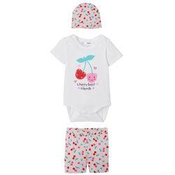 Body niemowlęce + krótkie spodenki + czapka (3 części), bawełna organiczna bonprix pudrowy jasnoróżowy - truskawkowy
