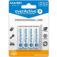 "Akumulatorki, 4x everActive R03/AAA Ni-MH 1000 mAh ready to use ""Professional line"""