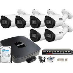 Monitoring samodzielny montaż Rejestrator BCS-NVR08015ME-II 6x Kamera BCS-TIP3201IR-E-V 1TB IP
