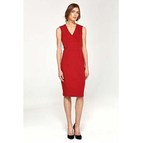 Suknie i sukienki, Czerwona Elegancka Dopasowana Sukienka do Kolan z Dekoltem V