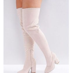ASOS KATCHER Wide Fit Heeled Over The Knee Boots - Beige