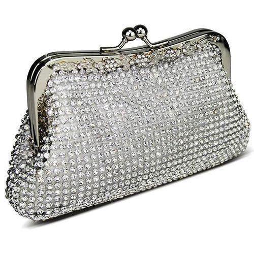 Torebki, Zjawiskowa srebrna torebka wizytowa z kryształków
