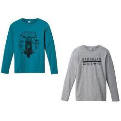 Shirt z długim rękawem (2 szt.) bonprix morski turkusowy + jasnoszary melanż