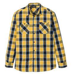 Koszula z długim rękawem w kratę bonprix żółty złocisty - ciemnoniebieski w kratę