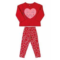 Komplet dziewczęcy - bluza z sercem + czerwone spodnie 3P39A7 Oferta ważna tylko do 2023-12-01