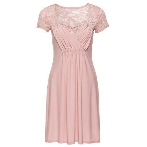 Suknie i sukienki, Sukienka z dżerseju z koronką bonprix stary jasnoróżowy