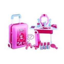 Toaletka walizka 2w1 stolik akcesoria różowa 14 el