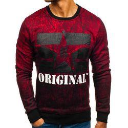 Bluza męska bez kaptura z nadrukiem czerwona Denley DD257