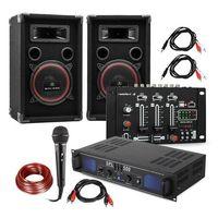 """Sprzęt karaoke, Electronic-Star Zestaw DJ PA """"DJ-14"""" USB wzmacniacz PA mikser USB 2 x głośnik mikrofon karaoke"""