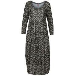 Długa sukienka shirtowa bonprix szary leo