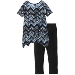 Piżama ze spodniami 3/4 bonprix czarno-jasnoniebiesko-szary wzorzysty